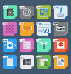 Square file types and formats labels icons vector