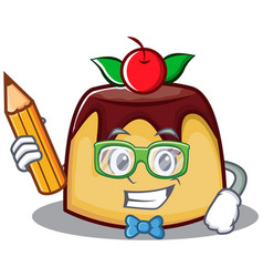Student with pencil pudding character cartoon vector