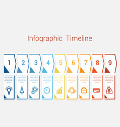 Timeline infographic for nine position vector