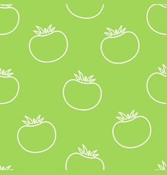 Tomato contour vegetable seamless pattern design vector
