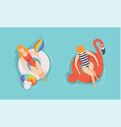 top view people relaxing on inflatable swimming vector image