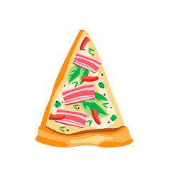 triangle slice of hot pizza with bacon red pepper vector image