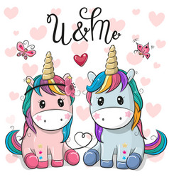 Two cute unicorns on a hearts background vector