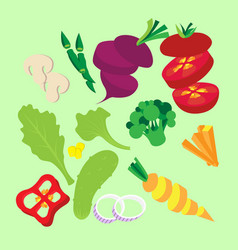 vegetable set cut sliced and vector image