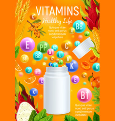 Vitamin and mineral for healthy life banner design vector
