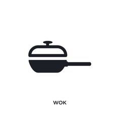 Wok isolated icon simple element from kitchen vector
