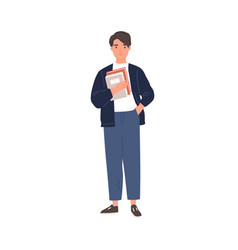 young college student standing with books vector image