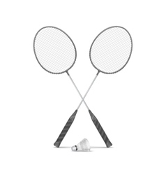 Badminton Rackets with Shuttlecock vector image