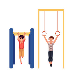 boys hanging on gymnastic rings and monkey bars at vector image