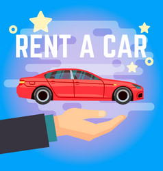 Car rent hand with flat-style vector