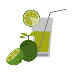color silhouette of lemonade drink with lemon vector image