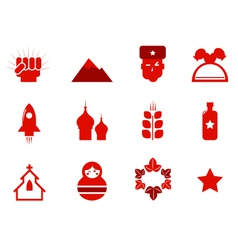 communism and russia icons vector image vector image