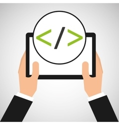 hand holds tablet coding concept vector image