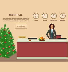 hotel reception desk with standing employee and vector image