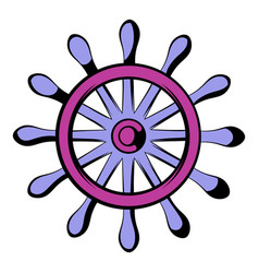 wooden ship wheel icon icon cartoon vector image