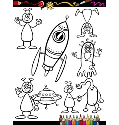 Aliens Cartoon Set for coloring book vector image
