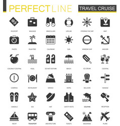 black classic travel cruise icons set for web vector image