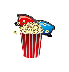 color pop corn with 3d glasses icon vector image