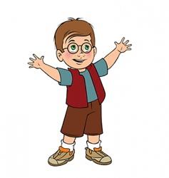 cute boy glasses vector image