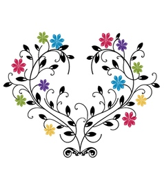 flourishes with colored flowers vector image vector image