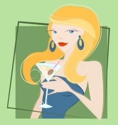 girl drinking martini vector image