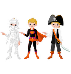 halloween boy pointing vector image