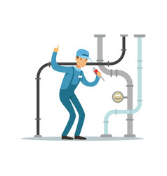 proffesional plumber man character repairing and vector image vector image