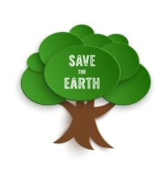 Save the earth stamp on paper cut tree vector