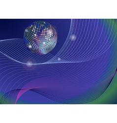 silver disco mirror ball background vector image