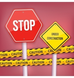 Stop Sign Website Under Construction vector image
