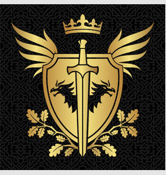heraldry shield with dragons wings and sword on vector image
