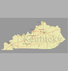 kentucky accurate exact detailed state map with vector image vector image