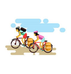 two cycling boy and girl in vector image vector image