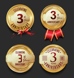 anniversary retro golden labels collection 3 years vector image vector image