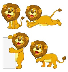 Cute lion cartoon set vector image