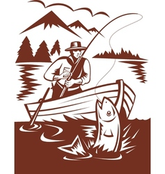 Fly fisherman catching trout on boat vector image vector image