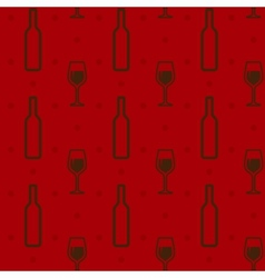 seamless background with wine bottles and vector image