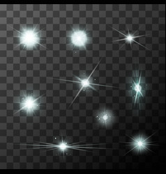 set of different starbursts with white sparkles vector image