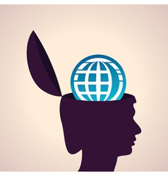 Thinking concept-Human head with earth icon vector image