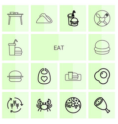 14 eat icons vector