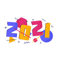 2021 with flat cartoon numbers with trendy grain vector image
