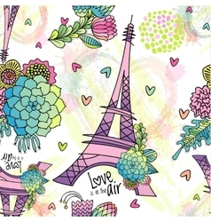 Abstract floral seamless pattern with Eiffel tower vector