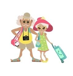 An elderly couple traveling vector