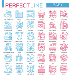 Baby care toys kid feeding concept symbols vector