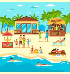 Beach flat style vector