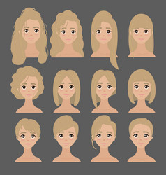 Beautiful collection of female hairdo haircut vector