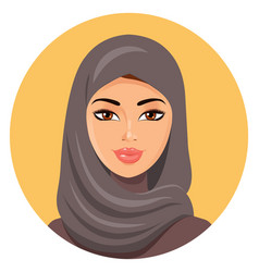 Beautiful face of arabic muslim woman in hijab vector