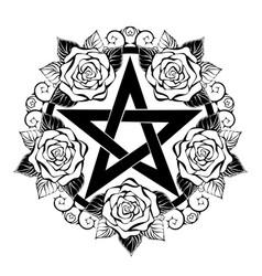 black pentagram with roses vector image