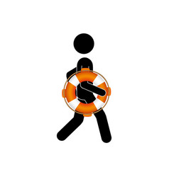 Black silhouette pictogram male with lifeguard vector