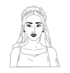 Bride pop art cartoon in black and white vector